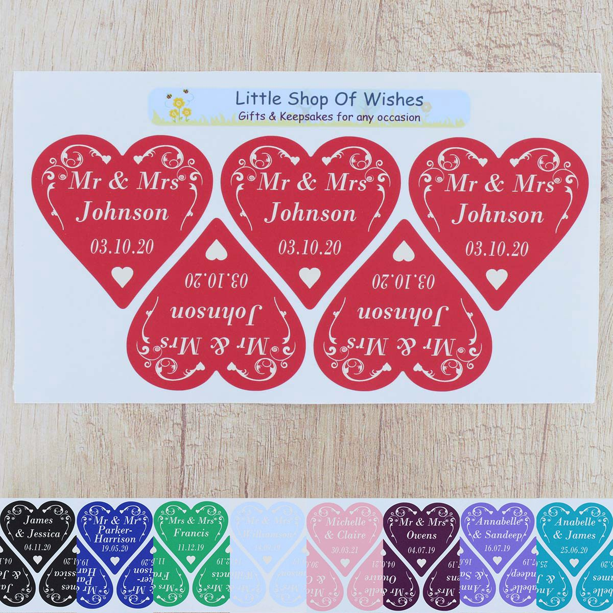 Personalised Wedding Stickers ANY TEXT Swirl Heart Love Hearts (3cm ...