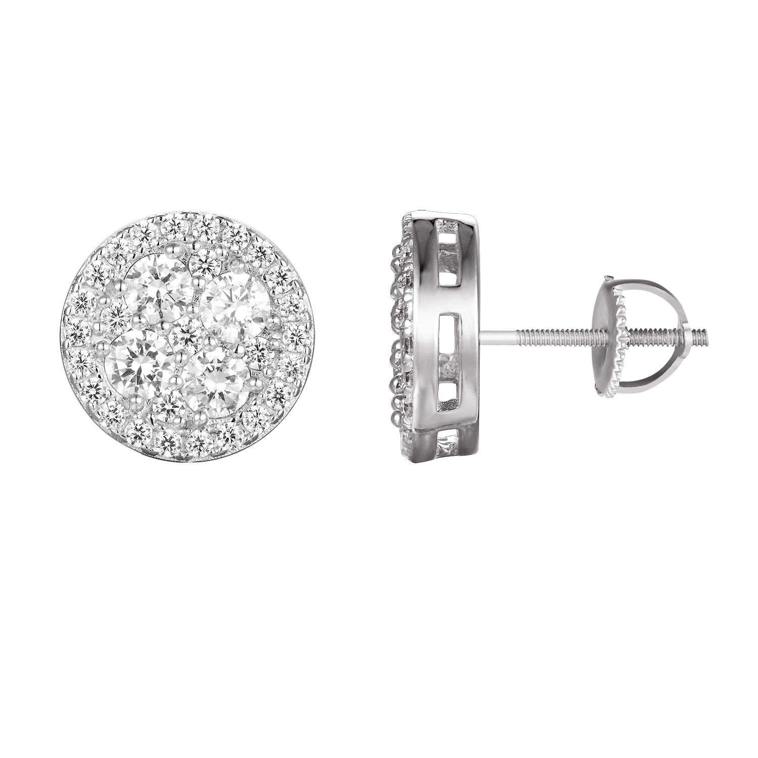 Sterling Silver Cluster Solitaire Round Stud Earrings