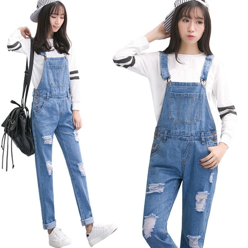 Bottoms Precise Women Lady Slim Denim Jeans Bib Long Pants Overalls Straps Jumpsuit Rompers Trousers