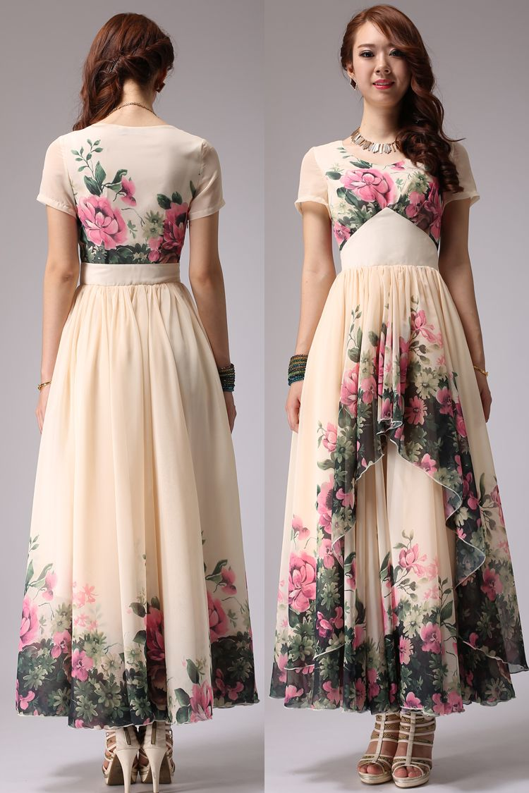 3080abd7e99ff 2014 fashion summer long dress women s floral print dress maxi long plus  size bohemia chiffon print dress floor length a line -inDresses fro.