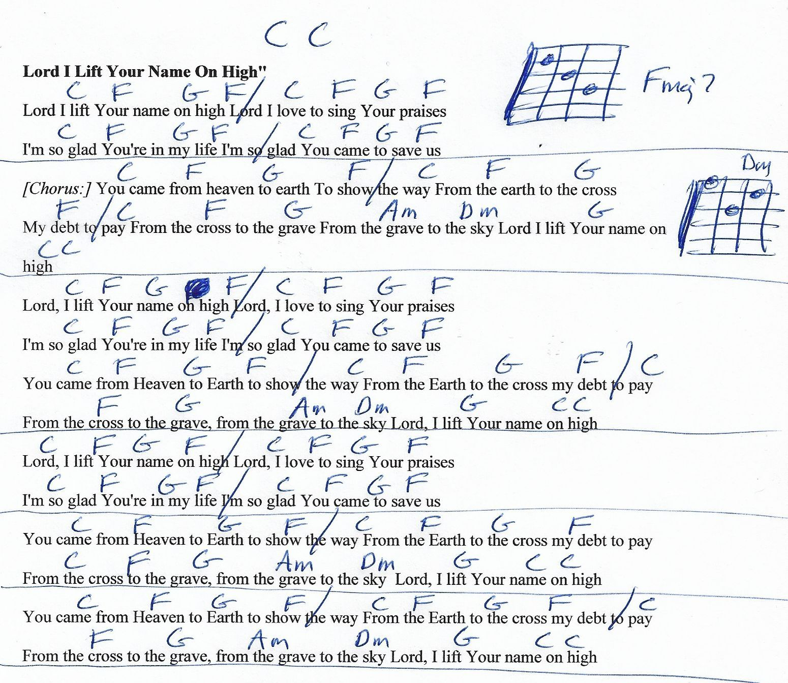 Lord I Lift Your Name On High Praise Songeasy Guitar Chord Chart