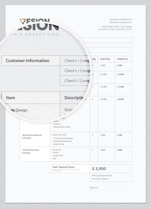 Sample Quote Sheet Invoice Template For Advertising Agencycompany