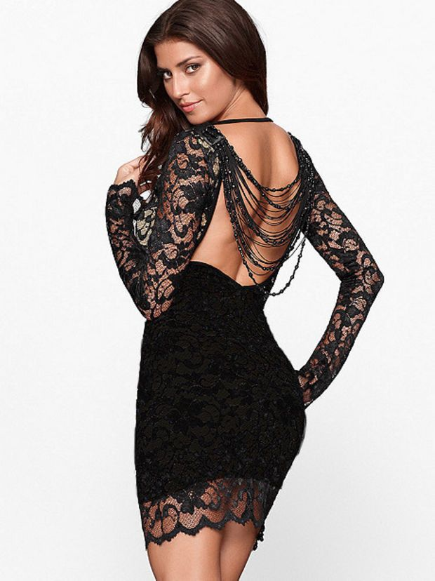 92c2095588959 Full Sleeved Black Lace Bodycon Dress with Backless Beaded Fringe Details