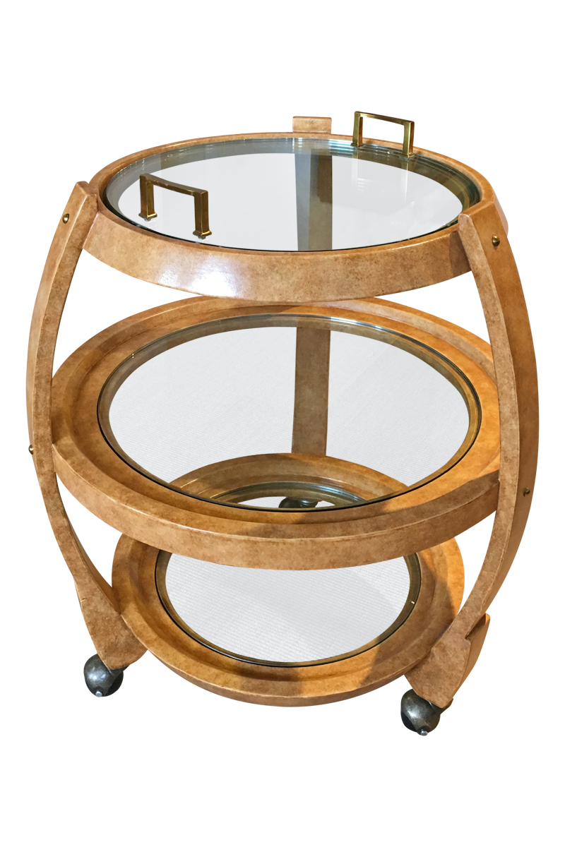HENREDON Leather Inlaid Bar Cart designed by Celerie Kemble