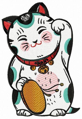 Cute Maneki Neko machine embroidery design. Machine embroidery design. www.embroideres.com