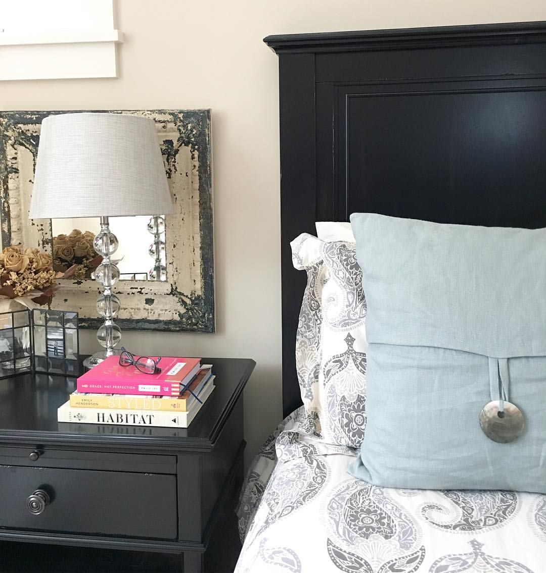 Neutral master bedroom with paisley bedding crystal lamp and neutral master bedroom with paisley bedding crystal lamp and vintage tin ceiling tile mirror dailygadgetfo Image collections