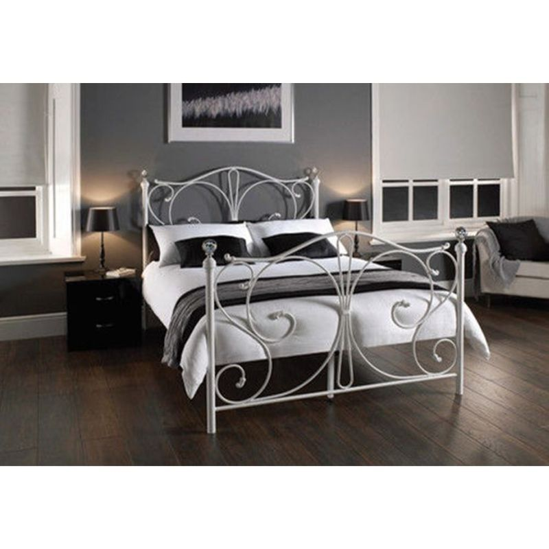 christina king bed frame metal white buy king size bed frame