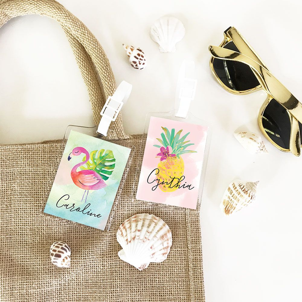 Tropical Luggage Tags | Bachelorette party vegas, Favors and Weddings