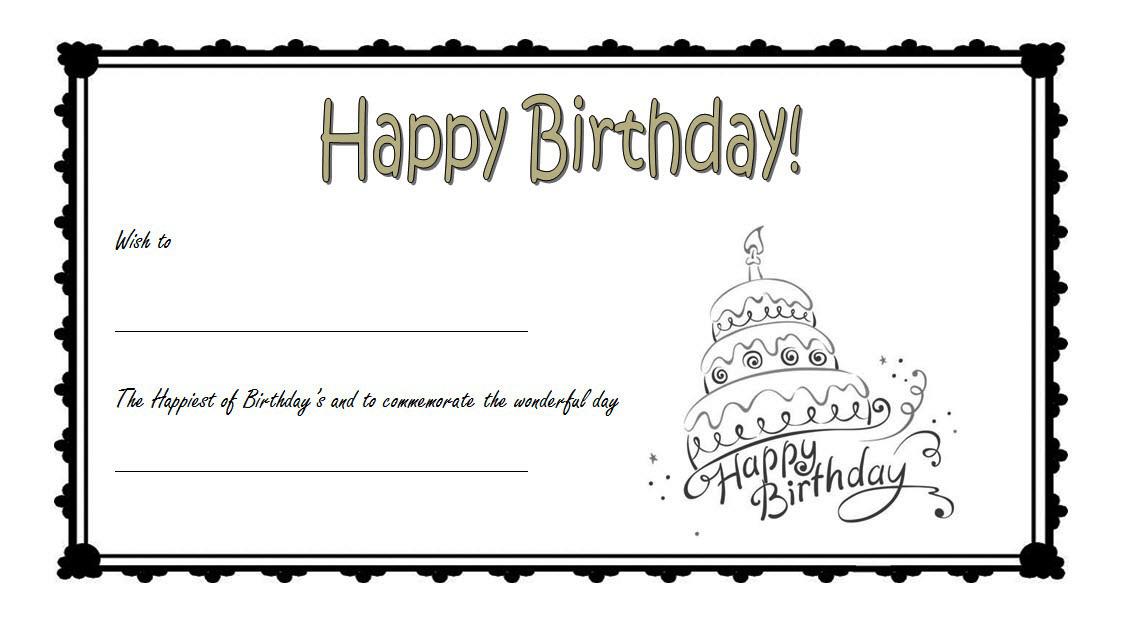 Birthday Gift Certificate Template Free Printable 1 Gift Certificate Template Birthday Certificate Templates Printable Free