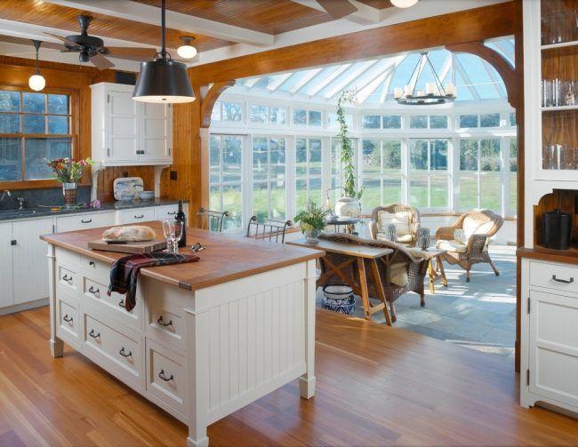 verglaste terrasse wintergarten küche rattan sessel aussenbereich ...