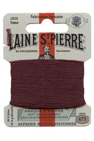 Carte Laine Saint-Pierre pour broder / repriser n°475 Lie de Vin
