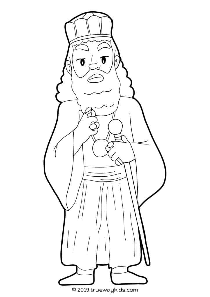 Free printable King Xerxes coloring page for Esther Bible