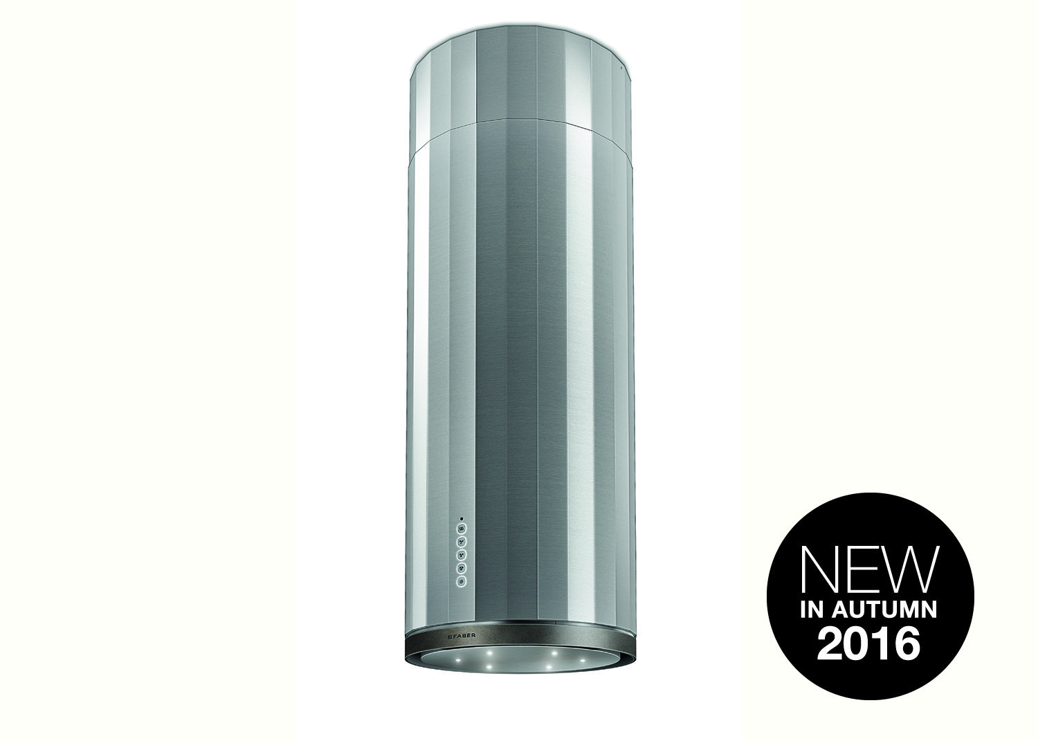 Corinthia Isola Island cooker hood from Faber UK. Cylindrical design ...