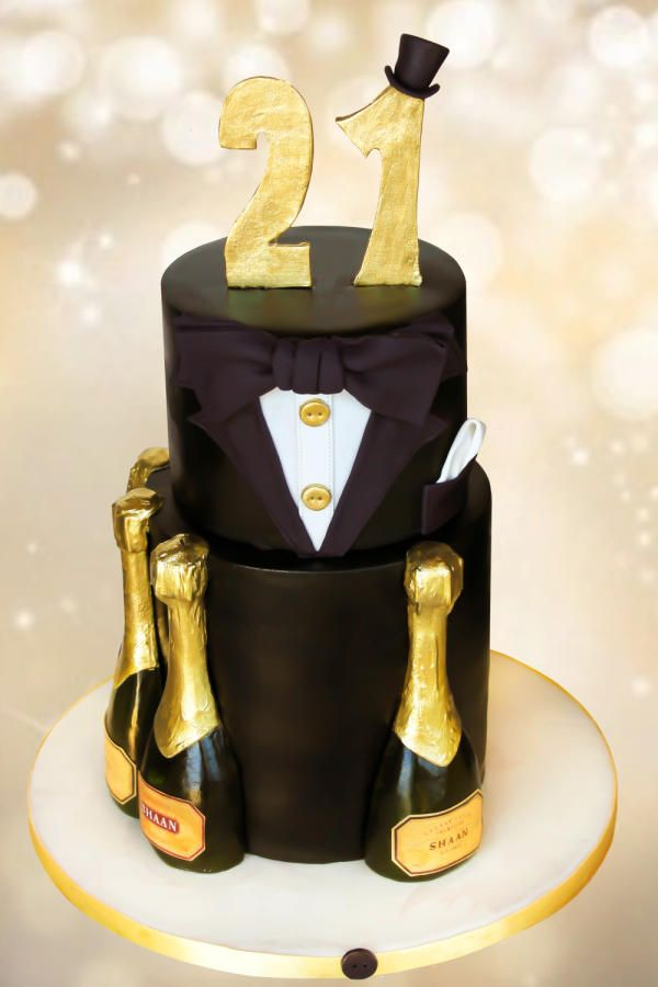 Champagne and tux cake by Estrele Cakes