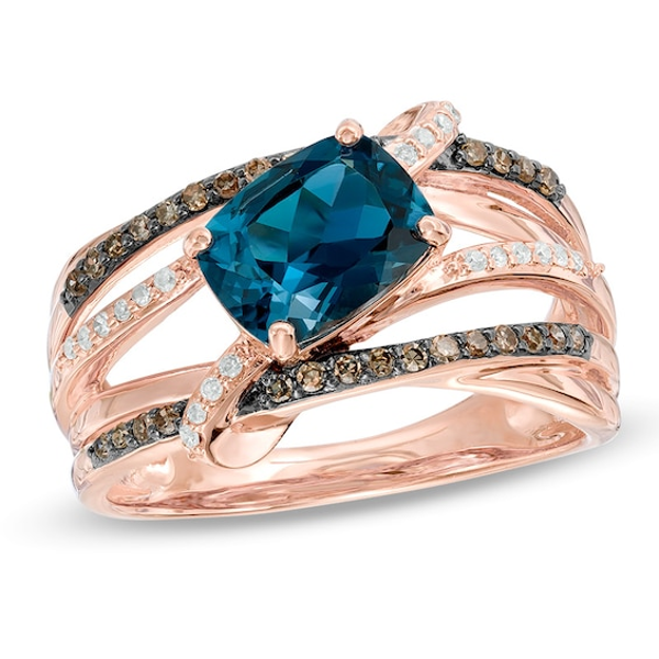 1//3ct Champagne Diamant /& White Topaz Gold Over silver ring