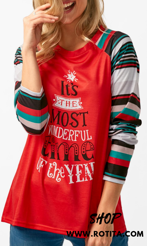 1e718517fb378 Long Sleeve Letter Print Red T Shirt A really casual shirt