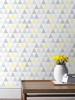 papier peint tarek triangles pastel bleu jaune scandinave graham brown papier peint en. Black Bedroom Furniture Sets. Home Design Ideas