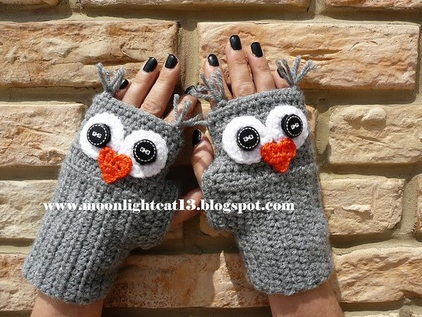crochet owl gloves