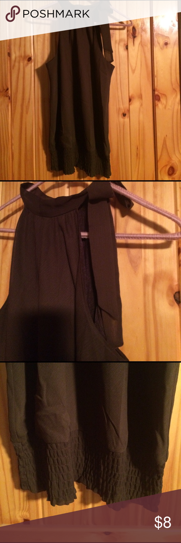 Brown Dress Top Sleeveless dark brown shear dress top with cute tie collar. NWOT Cato Tops Blouses