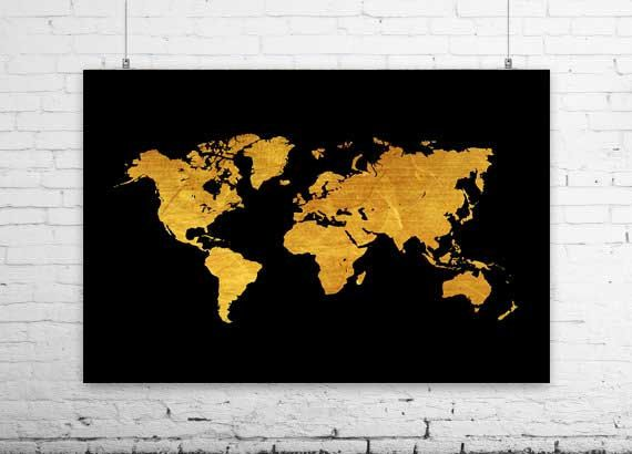 World map black 36 x 24 printable map art print travel wanderlust world map black x printable map art print travel wanderlust adventure map gold prints home office livingroom bedroom gallery decor by ikonolexi on etsy gumiabroncs Gallery
