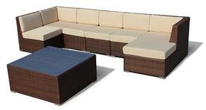 The Erebos, 7 Piece Sofa Conversation Set by Luxus B, features 6 sofas and a tempered clear glass top coffee table. This also includes seat cushions and back cushions, aluminum frame, with all weather wicker. The Erebos 7 Piece Sofa Conversation Set offers high quality contemporary design through clean lines. The Erebos 7 Piece Sofa Conversation Set comes structured in aluminum, covered with outdoor weather resistant rattan woven to perfection.