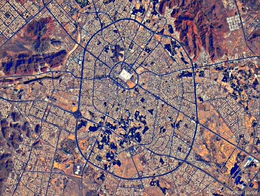Satellite View Of The City Of Madinah City Aerial Tim Peake