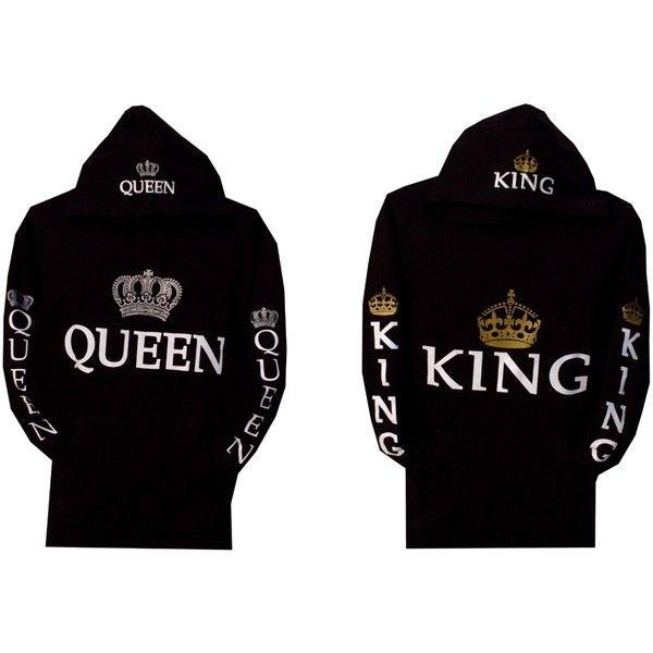 Couple Lovers Matching Sweatshirt Hoodies King //Queen Print Casual Pullover Tops