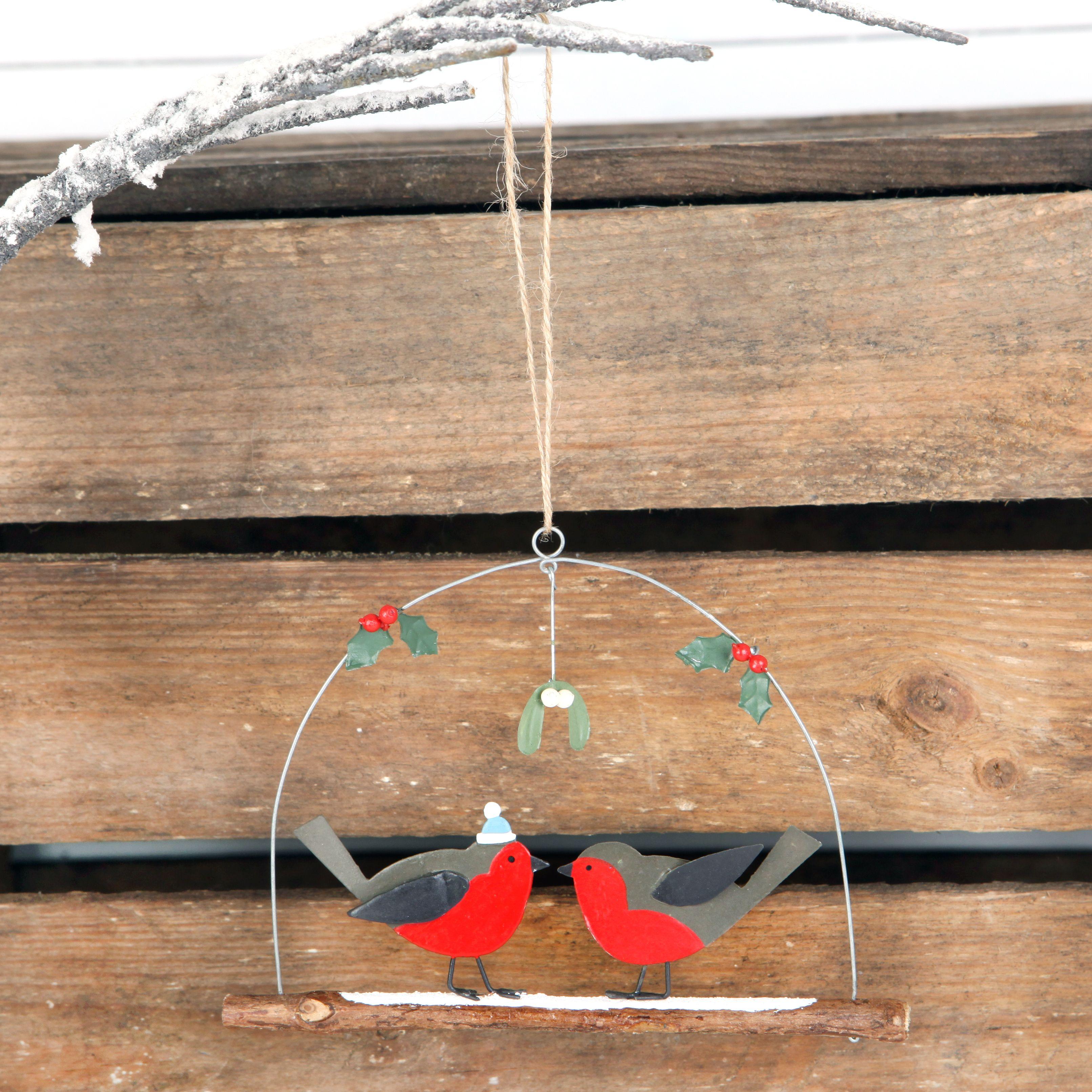 Christmas Kissing Under The Mistletoe Robin Decoration