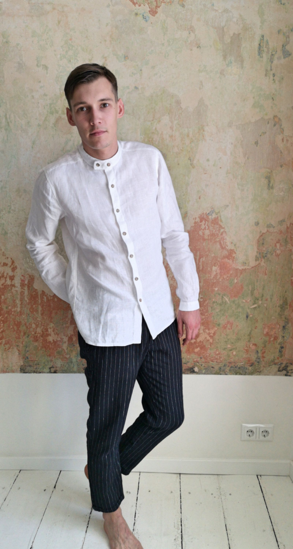 Mens Linen Shirt Band Collar Shirt White Linen Dress Shirt Etsy Linen Shirt Men Collared Linen Shirt Banded Collar Shirts [ 3000 x 1601 Pixel ]