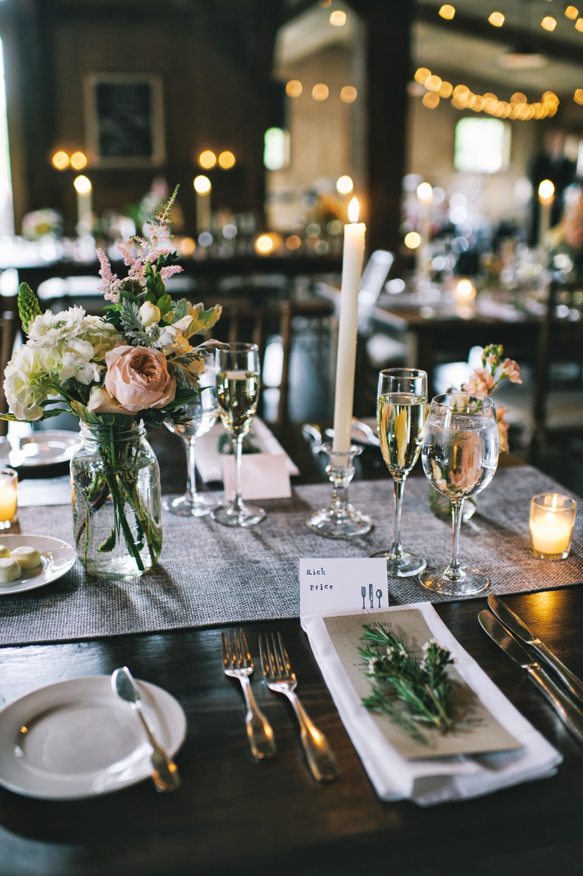 An Elegant Upscale Barn Wedding Tablescape Centerpiece