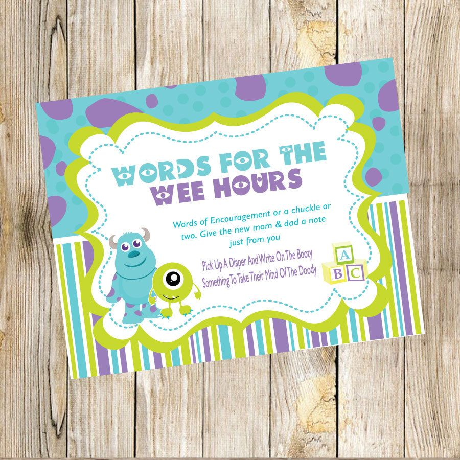 Monsters Inc Baby Shower Words For The Wee Hours Game by ...