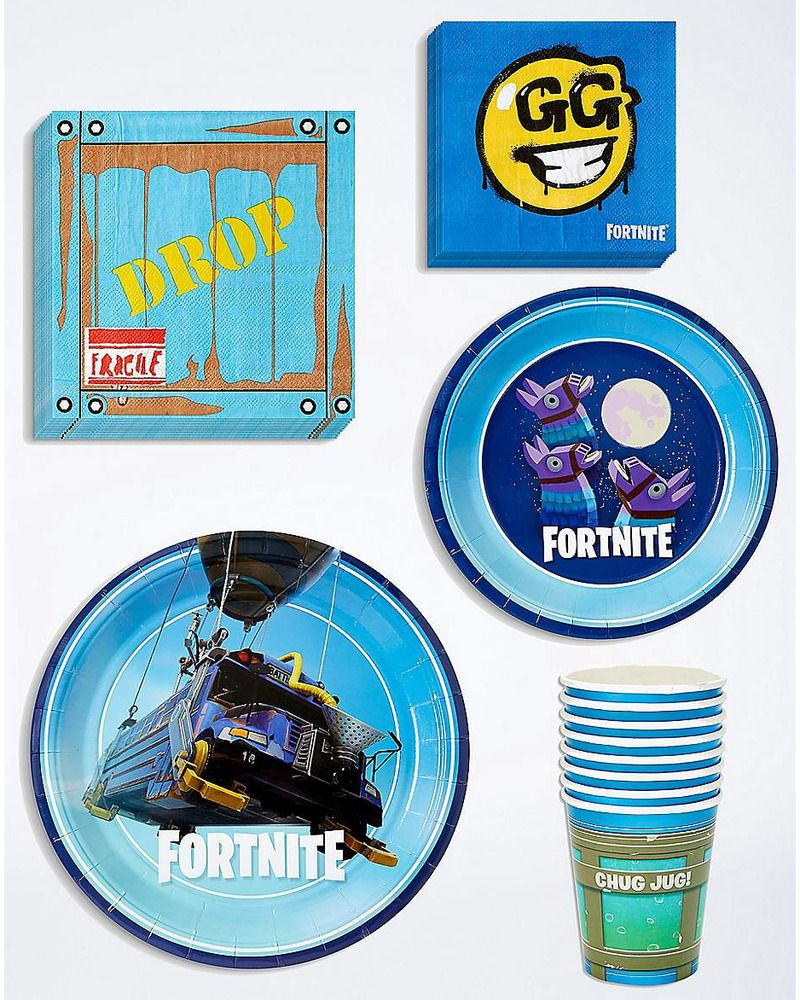 Fortnite battle bus birthday party pack plates cups