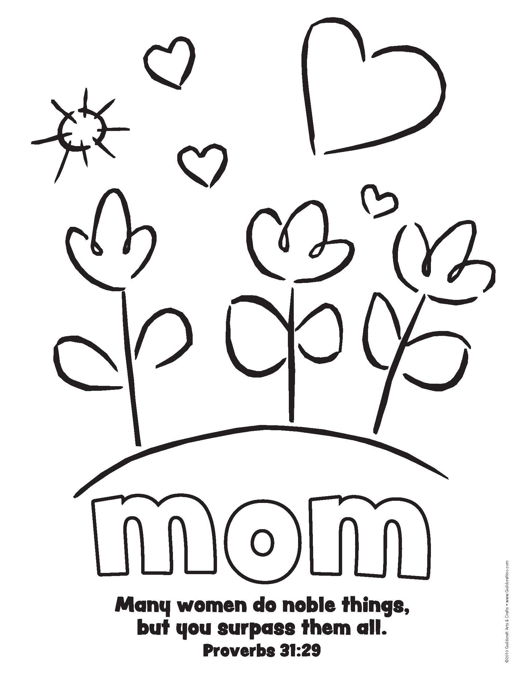 Simple mother 39 s day printable with prov 31 bible verse for Printable bible coloring pages kids