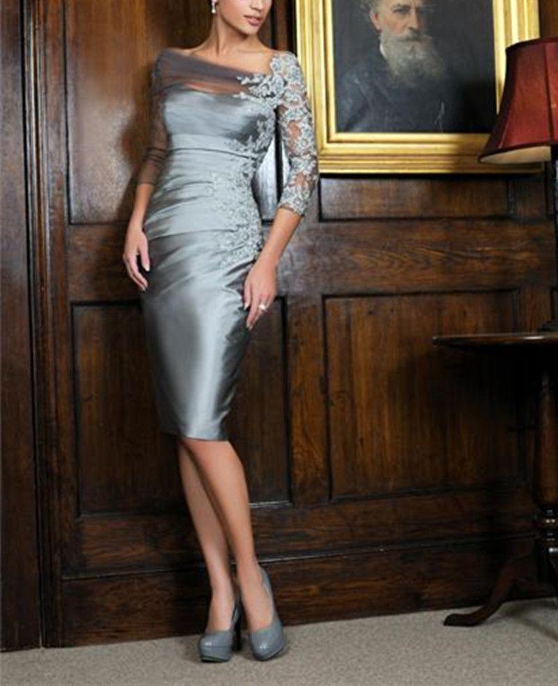 2019 elegant silver kneelength sheath mother of the bride