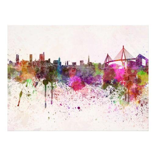 Good Hamburg Skyline In Watercolor Background Photo Print