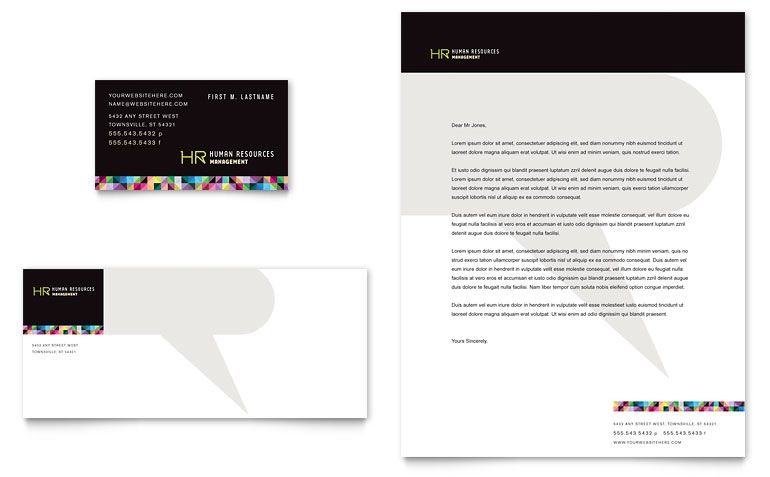 Human Resource Management Business Card \ Letterhead Template - free microsoft word postcard template