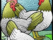 Three French Hens in Stained Glass