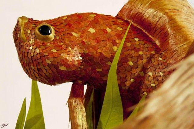 Amazing Lifelike Animal Sculptures by José Suris IV   Click for full post! #paper #art #goldfish