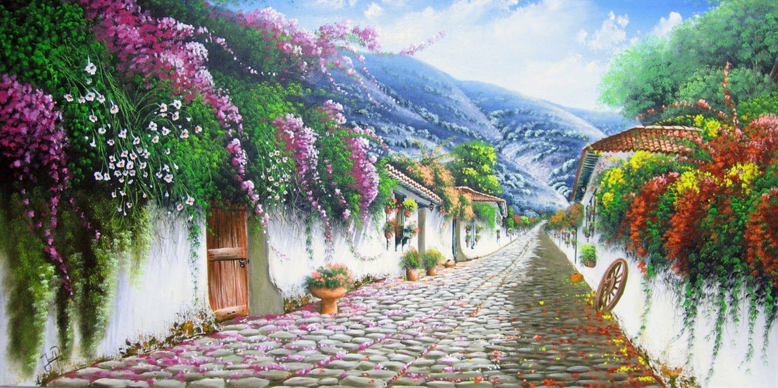 Jose Raul Rodriguez Galan Colombia Landscape Rural Landscape Landscape Paintings