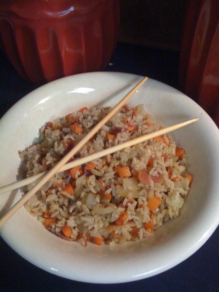 Bacon Fried Rice ~ I made this for dinner tonight & it was yummy!