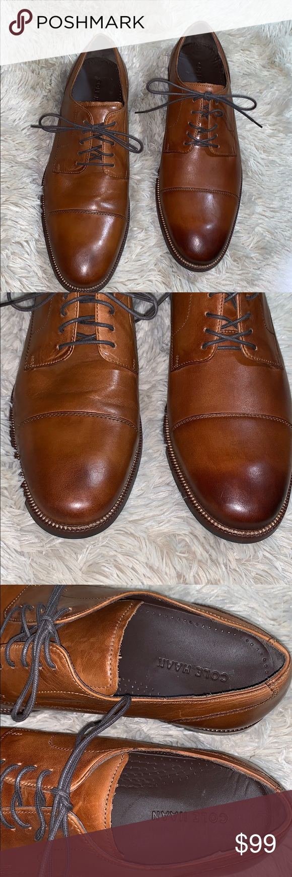 2019 original no sale tax good New COLE HAAN • Benton Plain Brown Leather Derby New Without ...