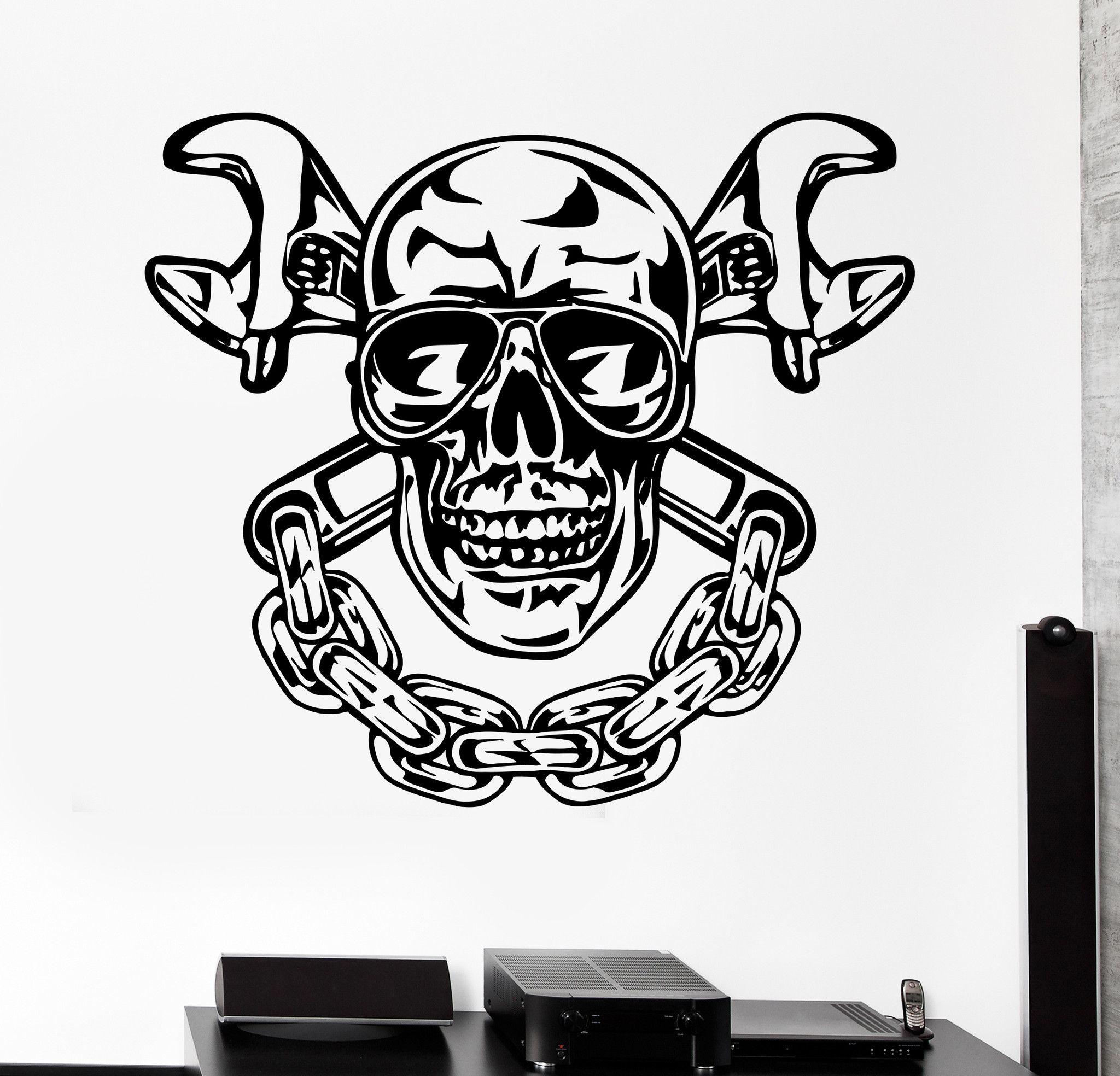 Vinyl Wall Decal Skull Chain Auto Car Repair Service