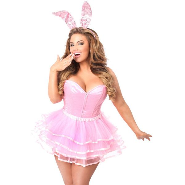 ac1bcd55184b2 Plus size 3 pc flirty pink bunny costume ( 130) ❤ liked on Polyvore  featuring costumes