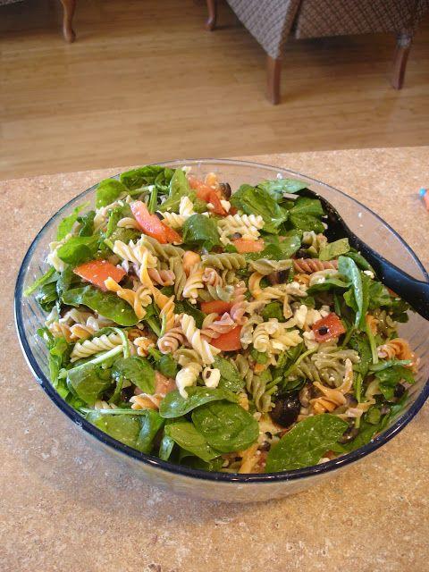 Pasta Spinach Salad | Spinach salad, Salad, Pasta salad