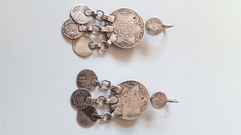 Vintage Berber coins with danglers stamped silver earrings from Morocco. door tribalgallery op Etsy