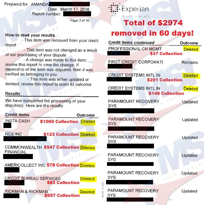 Check out these 60 day credit repair results 9 collection