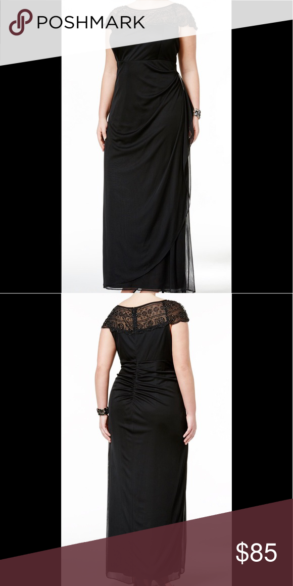 MSK Ruched Cascade Gown Formal Dresses Plus Sz 20W Product ...