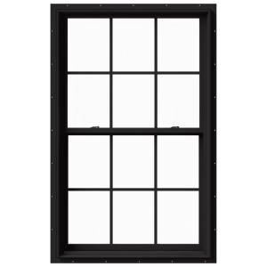 Tafco Windows 32 In X 36 In Double Hung Aluminum Window With Low E Glass Grids And Screen Bro In 2020 Black Windows Exterior Double Hung Windows Black Window Trims