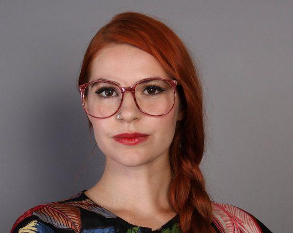 Vintage 80s oversized glasses frames deep pink marble eyeglasses