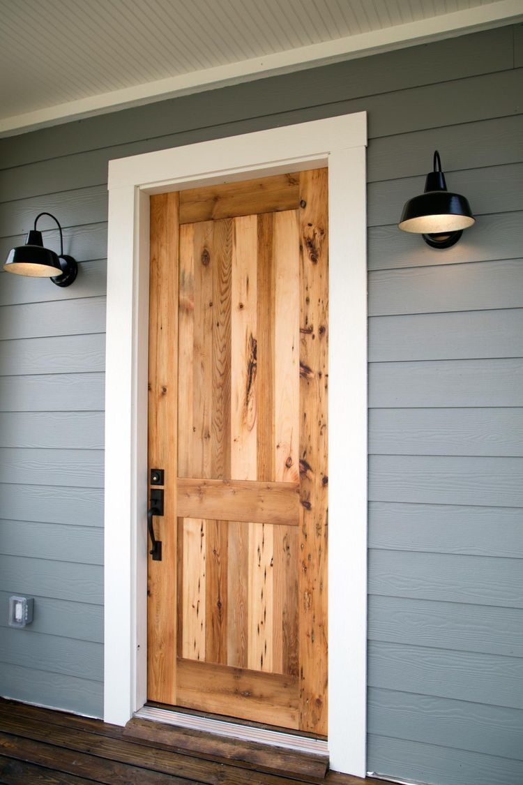 Cedar Front Door Black Hardware And Lights